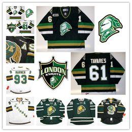 Ingrosso Personalizzato ChL London Knights Mitch Marner Jersey 88 Patrick Kane 61 Tavares Rick Nash Cucita Nero Verde Green Hockey Maglie