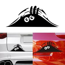 Discount eyes cartoons - New 1pcs Funny Creative 3D Big Eyes Sticker Car Headlight Decoration Funny Decal for Beetle Drop Shipping