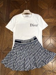 Wholesale Brand Designer Women Two Piece Dress Set Summer Fashion Style Round Neck Short Sleeve Letter T Shirt High Waist Mini Skirt Suits