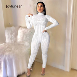 41e2def0b79 Joyfunear 2019 Stretchy High Neck Long Sleeve Skinny Jumpsuit For Women  Pearl Rhinestones Overalls Club Party Long Sexy Jumpsuit