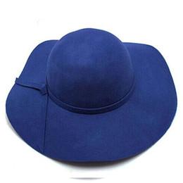 Large brim femaLe hats online shopping - Fashion Floppy Hats Vintage Woolen Felt Hat Female Autumn Winter Waves Large Brim Sunbonnet Fedoras Sun Hat Red