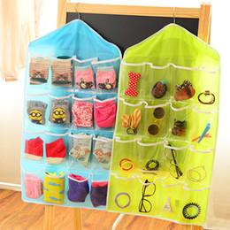 Organizer Hangs Jewelry Storage Australia - 16 lattice Pockets Underwear Socks storage bag Clear Hanging Bags jewelry Cosmetic Bra shoes Sorting Organizer bag hanging on Door wardrobe