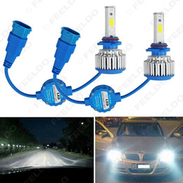 cob chips UK - wholesale Bright H8 H9 H11 6000K 48W 5200LM Car LED Headlights COB Chips Car Fog Light Bulbs Xenon Light with Fan #1429