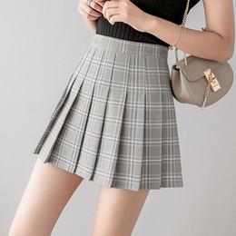406765fd661 2019 Korean Version Women Pleated Skirt New High-waisted Short Plaid Skirt  Institute Style S M 2XL Blue Gray Khaki