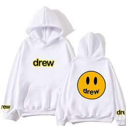 Wholesale face draw resale online - Fashion Hoody Men Justin Bieber The Drew House Smile Face Print Women and Men Hoodies Hip Hop Pullover Winter Fleece