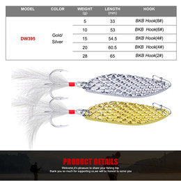 feather lures Australia - 5Pcs Set 5g 10g 15g 20g 28g Mix Styles <odel Fishing Lure Sequin Bait Gold Silver Hook Metal Spoon Lure with Feather baits