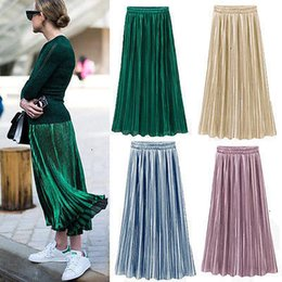 Wholesale silk plus size maxi resale online – Silk Skirts Pleated Skirt Ladies New Polyester Women Silky Long Maxi Skirts Pink Purple Green Silver Yellow One Size