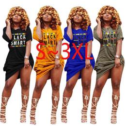 $enCountryForm.capitalKeyWord NZ - S-3XL Black Smart Letter Long Dress Women 2019 Summer Short Sleeve Off Shoulder T-shirt Dresses With Pocket loose wide Beach Dress A22805