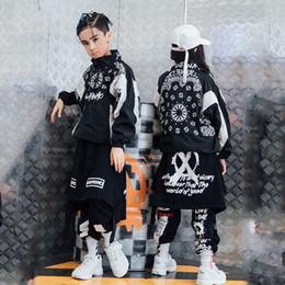 Wholesale jazz dance outfits costumes resale online - Hip Hop Dance Costume Jazz Costumes Boys Street Dance Clothing Girls Jacket Pants Kids Stage Show Dancing Outfit Clothes DQS1476