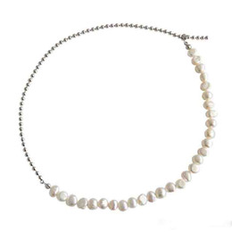 $enCountryForm.capitalKeyWord UK - New Fine Jewelry Women Choker Necklaces 100% 925 Sterling Silver Irregular Natural Freshwater Pearl Mix Beads Chain Collar Necklace