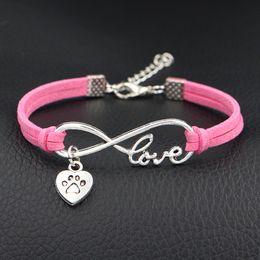 $enCountryForm.capitalKeyWord Australia - 2019 Limited Braided Pink Leather Suede Wrap Cuff Bangles & Bracelet Fashion Infinity Love Dog Paw Prints Heart Women Men Charm Jewelry Gift