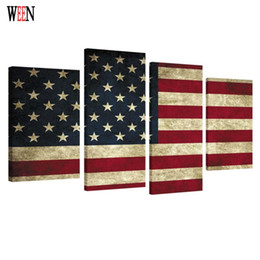 Art Flag UK - HD Print Framed American flag 4PC Canvas Art Wall Pictures For Living Room Large Modern Cuadros Decoracion Wall Poster 2017