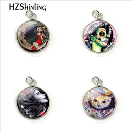 Gift Craft Christmas Ornament Australia - Vintage Skull Rose Cats Lady Dome Glass Cabochon Hand Craft Stainless Steel Pendant Charms Fashion Jewelry Ornaments