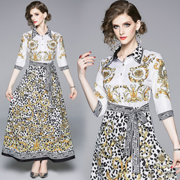 Senhora Vestido de Moda Europeu Imprimir Leopardo Uma Linha Elegante Festa Prom Wedding Evening Maxi Camisa Vestido 8052 venda por atacado