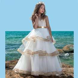 $enCountryForm.capitalKeyWord Australia - Vestido daminha gold flower girl dresses for wedding beaded kids evening gowns first communion dresses for girls with train