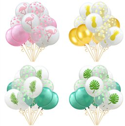 Wholesale 12 Flamingo Pineapple Latex Balloon Wedding Party Decoration Summer Party Supplies Palm Leaves Hawaiian Birthday Jungle Beach Theme Events