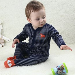 footed rompers NZ - Baby Clothing Newborn Jumpsuits Cotton Spring Baby Boy Girl Stripe Wraped Foot Romper Clothes Long Sleeve Rompers Infant Product
