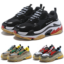 Women s flat leather shoes online shopping - Best Quality Triple S Paris FW Platform Men Women Sneakers Balck White Trainers Cheap Fashion Luxury Designer Shoes
