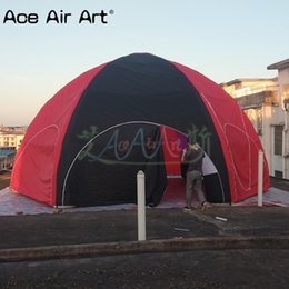 tent lighting night Australia - Customized 8m diameter red and black full cover inflatable spider tent with 6 legs and colourful LED lights for night events