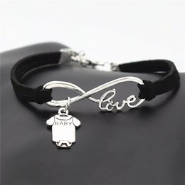 Sleeve Chain Australia - New Fashion Infinity Love Baby Short Sleeve Clothes T-shirt Romper Bracelets Black Leather Suede Bangles for Men Women Friends Gift Jewelry