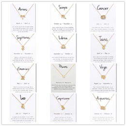 Gold Pendants Charm Wholesale Australia - 12 constellation Signs Pendant Necklaces with white Gift card zodiac charm Gold chains For Men Women Fashion Jewelry in Bulk