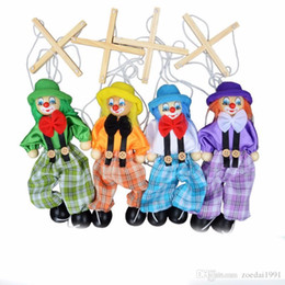 $enCountryForm.capitalKeyWord Australia - 25CM Kids Classic Funny Wooden Clown Pull String Puppet Vintage Joint Activity Doll Toys Children Cute Marionettes