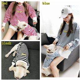 Stripe Clothes Mom NZ - pet stripe clothes cartoon small Dog and Mom Matching clothes with ears Winter Dog Coats Soft outwear clothes hoodies with letter MMA1196