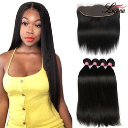 Lace frontaL cLosure weaving hair online shopping - 8a Human Hair Bundles with x13 Lace Frontal Unprocessed Brazilian Straight Hair With Frontal Closure Straight human hair Extensions