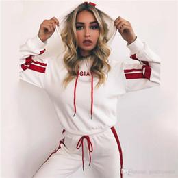 Toptan satış Streetwear Eşofman Bayan Kapşonlu Hoodies Uzun Sweatpants Suits 2 Adet Rahat Panelli Mektup Baskı Kıyafetler Bayan Iki Parçalı Setleri