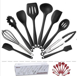 $enCountryForm.capitalKeyWord Australia - 10pcs Gift Box Silicone Kitchen Utensils Set Kitchen Not Sticky Pot Heat Resistant Spoon Shovel Ladle Spatula Cooking Tool Utensils KN7050
