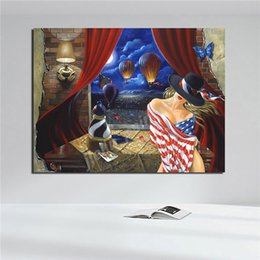 ladies ink Australia - Sexy Lady Woman Wraped Up In American Flag Painting Posters Wall Art Pictures For Living Room Home Decoration