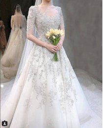 Castle Bling Wedding Dress Canada - A Line Short Sleeve Bling Mariage Wedding Dresses African Sweetheart 2019 New Plus Size Reception Wedding Gowns With Beads