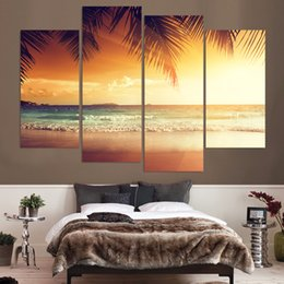 $enCountryForm.capitalKeyWord Australia - Painting Cuadros Prints Home Decoration 4 Pieces Pcs Tropical Sunset Sea Canvas HD Wall Art Modular Pictures For Living Room