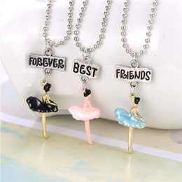 ballet necklaces Canada - Fashion 3PCS set Enamel Ballet Girls Pendant Best Friends Forever Necklace BFF Beads Chain Necklace Children Jewelry Gift