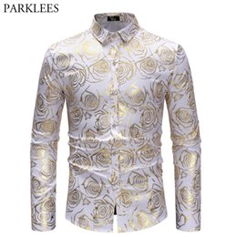 mens party shirts white Australia - Shiny Gold Rose Print White Men Shirt Long Sleeve Slim Fit Floral Mens Dress Shirts Party Casual Prom Male Social Shirt Camisas