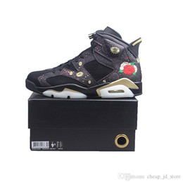 chinese shoe sizes NZ - Mens 6 CNY Basketball Shoes 6s Chinese New Year Metallic Gold Black Women Outdoor Sports Sneakers size 5.5-13 with BOX Free Shipping