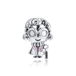 fc0c24077 Authentic 925 Sterling Silver Bead Charm Pink Enamel Curly-haired Oversized  Spectacles Grandma Beads Fit Pandora Bracelet Diy Jewelry
