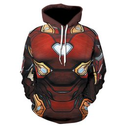 Wholesale A new brand of fashionable and casual printed men s sport long sleeved hoodies spring and summer thin iron man comic reality sh