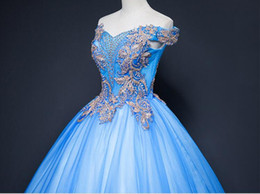 royal blue victorian ball dress Canada - 100%real blue rococo beading queen fairy cosplay ball gown royal princess Medieval Renaissance Victorian dress Belle ball can customs size