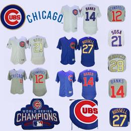 ErniE banks online shopping - Men s Chicago Kyle Schwarber Jersey Cubs Ernie Banks Sammy Sosa Addison Russell Kyle Hendricks Blue Grey White Gold Champion Jerseys