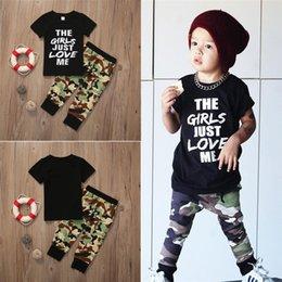 $enCountryForm.capitalKeyWord Australia - Summer Boys T-shirt+Trousers 2 Piece Sets Boys kids clothes kids designer clothes Short sleeve Letter T-shirt Camouflage trousers DHL JY125
