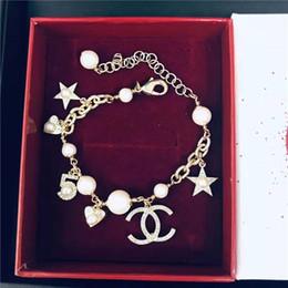 ElEgant pEarl sEt banglEs online shopping - Brand new brand designer bracelet fashion digital star letter pattern ladies elegant temperament jewelry bracelet