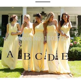 $enCountryForm.capitalKeyWord NZ - Cheap Mixed Styles Long Bridesmaid Dress Yellow Chiffon Floor Length Formal Maid of Honor Gown Plus Size Custom Made