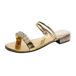 8dc2d5647a54 2019 Fashion Sandals Women s Ladies Summer Work Shoes Lady Slippers Plus  Size Crystal Flat Beach Sandals Roman Shoes Slippers