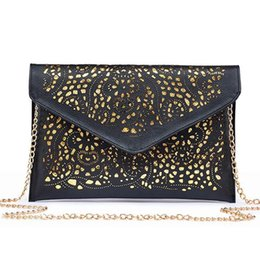 Ostrich Leather Clutch Bag Australia - Nice Womens Clutch Handbags Envelope Hollow Out Messenger Bags Pu Leather Cut Out Lady Clutches Brands Females Shoulder Bags
