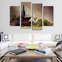 Unframed Art Prints Australia - 4pcs set Unframed Green Purple Grapes and Wine HD Print On Canvas Wall Art Picture For Home and Living Room Decor