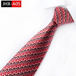 Wholesale unique men wedding suits resale online - Unique Man s Necktie Striped Silk Ties Classic Color Overlay Jacquard Tie Suit Wedding Business Ties