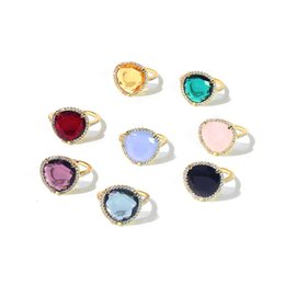 cubic zirconia yellow gold rings Canada - high quality copper yellow gold plated colorful crystal cubic zirconia rings for women new arrival hot selling luxury fashion jewelry