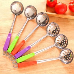 $enCountryForm.capitalKeyWord Australia - Wholesale- Color Handle Spoon Skimmer Strainer Set Kitchen Cooking Hot Pot Soup Stainless Steel Wall Hanging Long Handle Soup Ladle