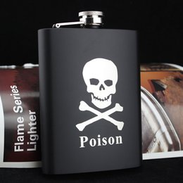 8oz Stainless Hip Flask Whisky Vodka Hip Flask Flagon Cool Old Man Skull Black Flagon Preference from daniels jack suppliers